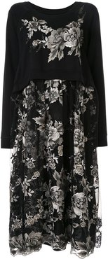 floral-embroidered layered dress - Black