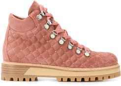 quilted hiking style ankle boots - PINK