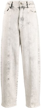 bleached tapered jeans - White