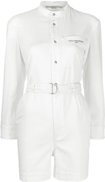 denim belted playsuit - White