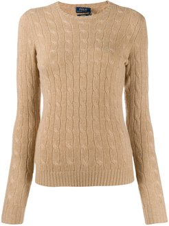 fitted cable-knit sweater - Brown