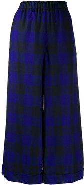 checked wide leg trousers - Blue