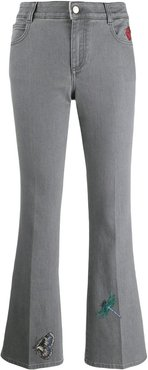 embroidered flared denim jeans - Grey