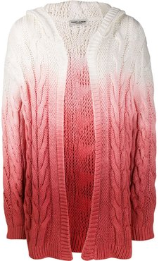 faded effect cable knit cardigan - PINK