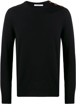 cashmere logo embroidered sweater - Black