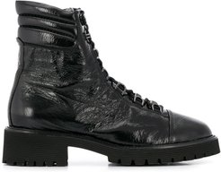wrinkled effect lace-up boots - Black