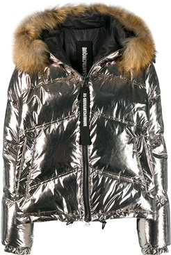 faux fur lined padded jacket - SILVER