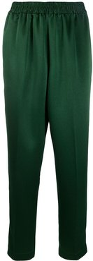 cropped textured trousers - Green