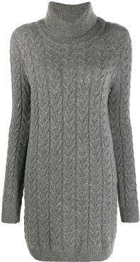 knitted roll neck dress - Grey
