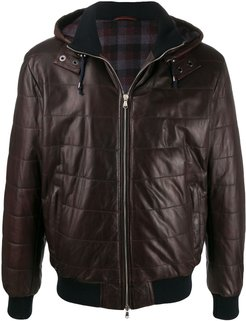 quilted-effect hooded jacket - Red