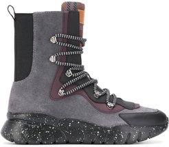 paneled ankle sneaker-boots - Grey