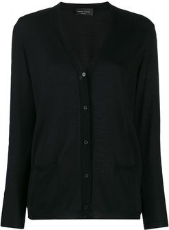 relaxed-fit V-neck cardigan - Black