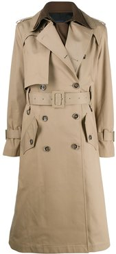 belted two-tone trench coat - Neutrals