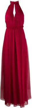 halterneck long dress - Red