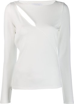 stretch fit slit top - White