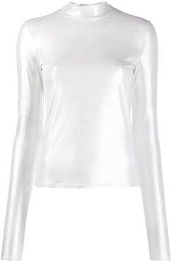fitted mock neck top - White