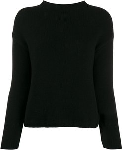 long-sleeve fitted sweater - Black