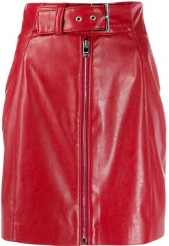 belted zip-front mini skirt - Red