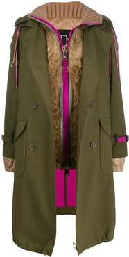 layered trench coat - Green