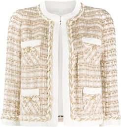 embroidered fitted jacket - Brown