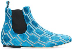 geometric pattern ankle boots - Blue