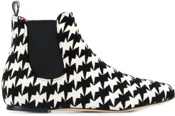 geometric print ankle boots - White