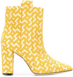 geometric pattern ankle boots - Yellow