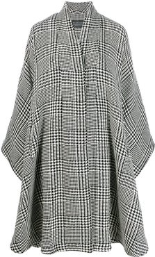 oversized houndstooth cape - Black