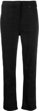 slim checked trousers - Black