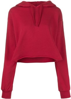 logo lined hoodie - Red