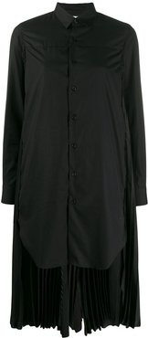 pleated hem shirt dress - Black