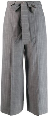 pinstriped belted culottes - Grey