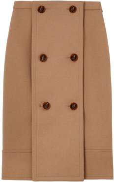 Button Panel Detail Wool Cashmere A-line Skirt - Brown