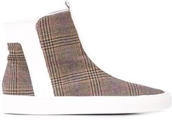 plaid ankle boots - White
