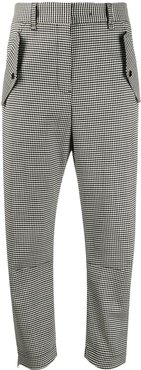 checked straight trousers - Black