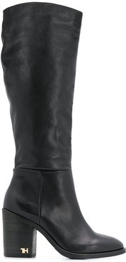 logo hardware calf high boots - Black