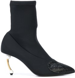 pearl-heel sock ankle boots - Black