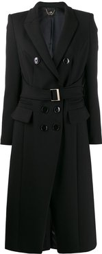fitted belted coat - Black