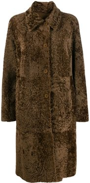 front button coat - Brown