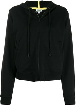 Tiger embroidered zip front hoodie - Black