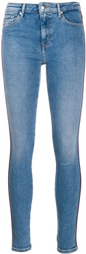 piped detail skinny jeans - Blue