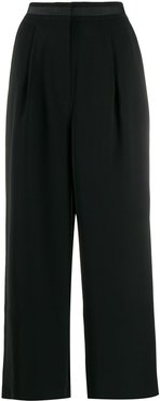 cropped wide leg trousers - Black