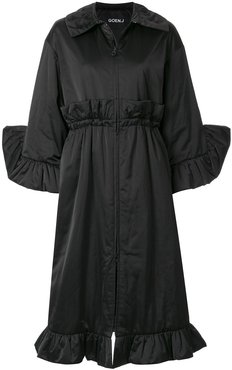 Sculptural ruffled padded coat - Black