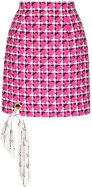 scarf-detailed houndstooth silk mini skirt - PINK