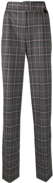 checked high-waist belt trousers - Grey