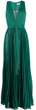 pleated long dress - Green