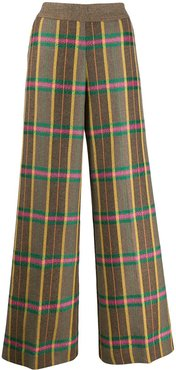 checked palazzo trousers - Brown
