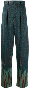 high-waisted printed trousers - Blue