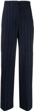flared striped trousers - Blue