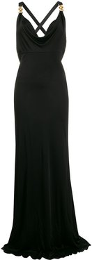 cowl neck fitted dress - Black